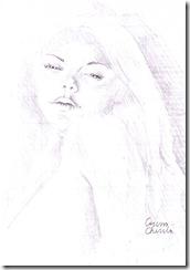 portret de femeie in creion