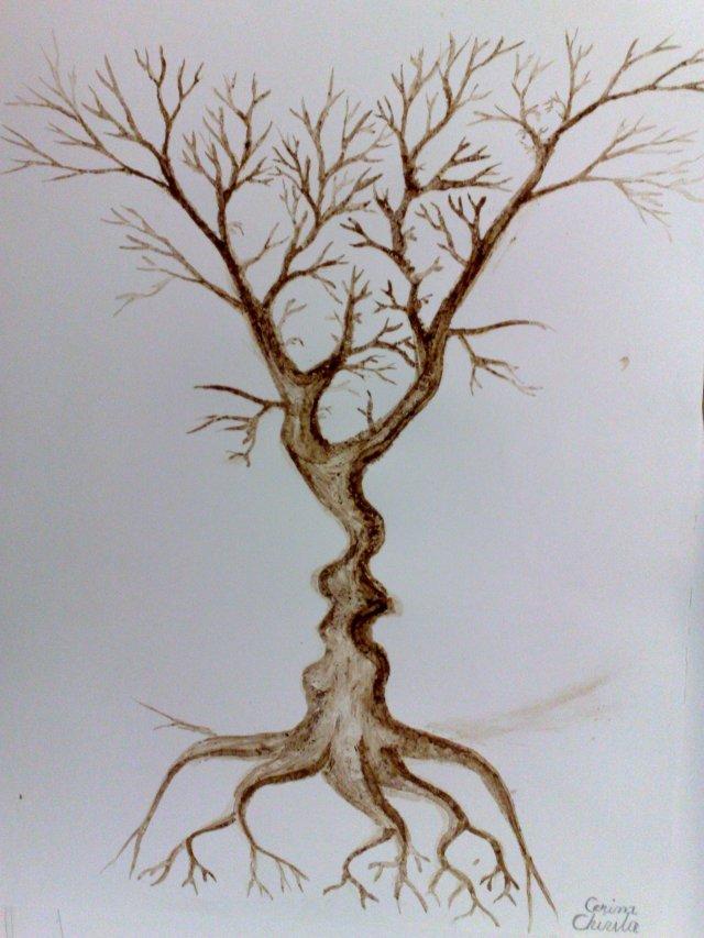 Copacul sarutului, pictura facuta cu cafea