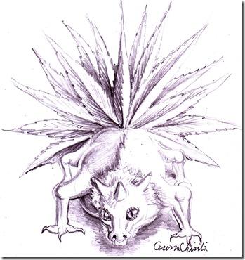 Creatura din vis dinozaurul cu coada de paun