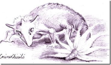 Creatura din vis dinozaurul cu coarne