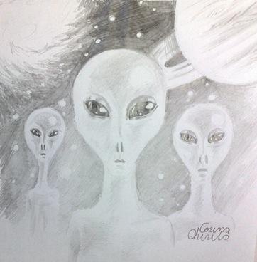 Intalnire de gradul 3 cu 3 extraterestrii desen in creion - Aliens pencil drawing