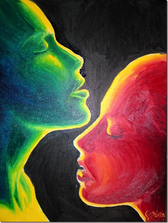 Love and desire oil on canvas painting - Pasiune si dorinta pictura ulei pe panza