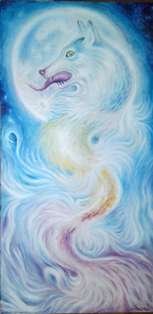 Marele lup alb al dacilor pictura ulei pe panza