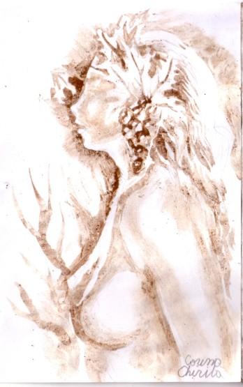 Inca o pictura de toamna facuta cu cafea