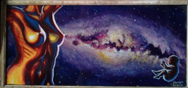 Legenda Caii Lactee pictura pe sticla