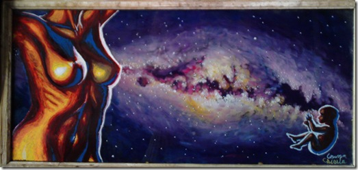 The legend of the milky way oil on glass painting - Legenda caii lactee pictura in ulei pe sticla
