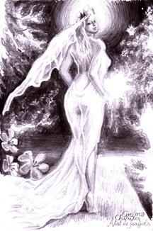 Atat de frageda desen in creion mireasa din poezia lui Mihai Eminescu