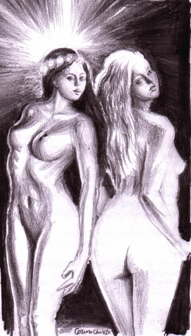 Blonda lui Eminescu si bruneta din vis desen in creion cu fete nud -
