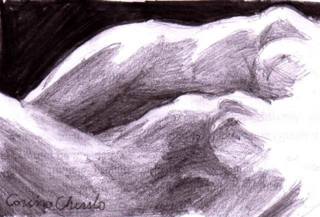 Doua femeie in intuneric doua corpuri doua nuduri desen in creion - Nude women in the dark pencil drawing