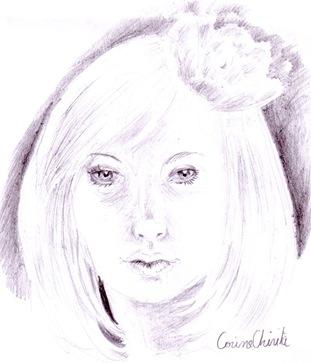 Fata cu floare in par desen in creion