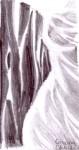Femeia cu rochie alba de matase desen in creion -
