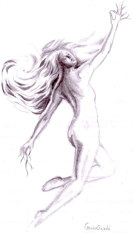 Femeia furtuna desen in creion - Storm woman pencil drawing