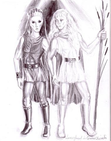 Luceafarul in cele doua ispostaze ale sale desen in creion