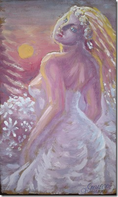 Mireasa in decor de iarna cu apus de soare si brad - Bride painting