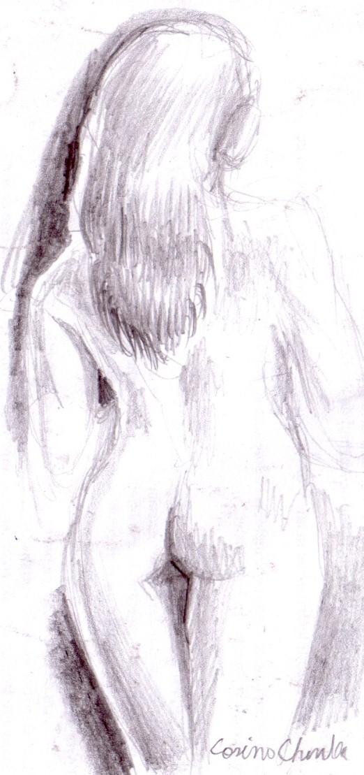 nud cu spatele in creion