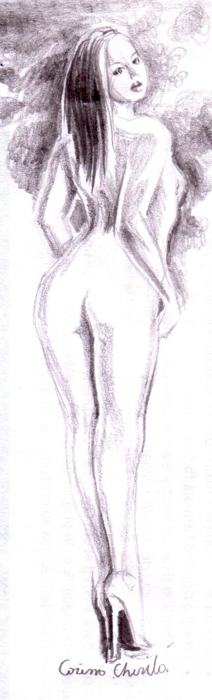 Nud de fata pe tocuri desen in creion
