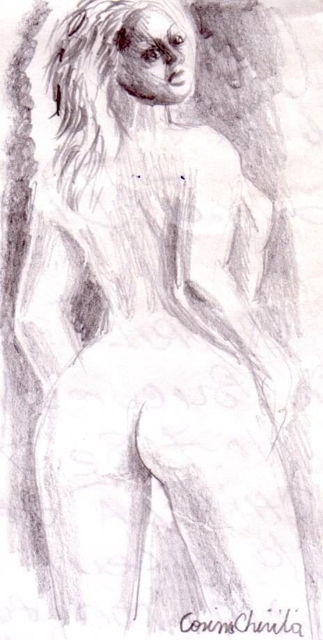 Nud de femeie cu spatele  in creion