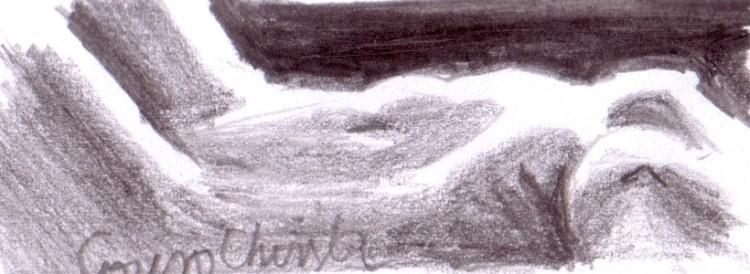 Nud de femeie in intuneric desen in creion