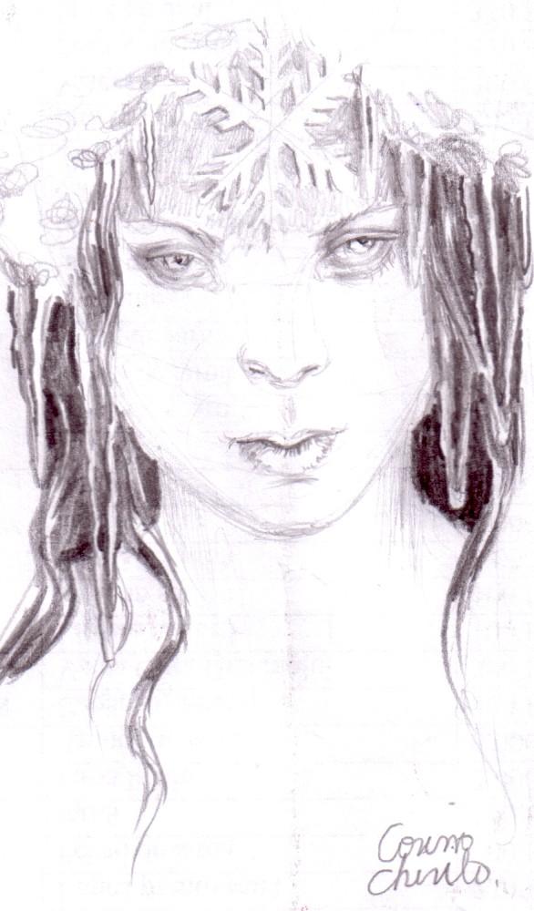 Portretul unei regine de gheata, desen in creion