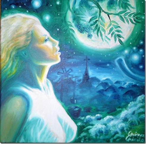 Sara pe deal pictura ulei pe panza inspirata din poezia lui Mihai Eminescu