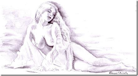 Femeie nud desen in creion