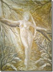 Freamat de codru pictura tempera inspirata din poezia lui Mihai Eminescu