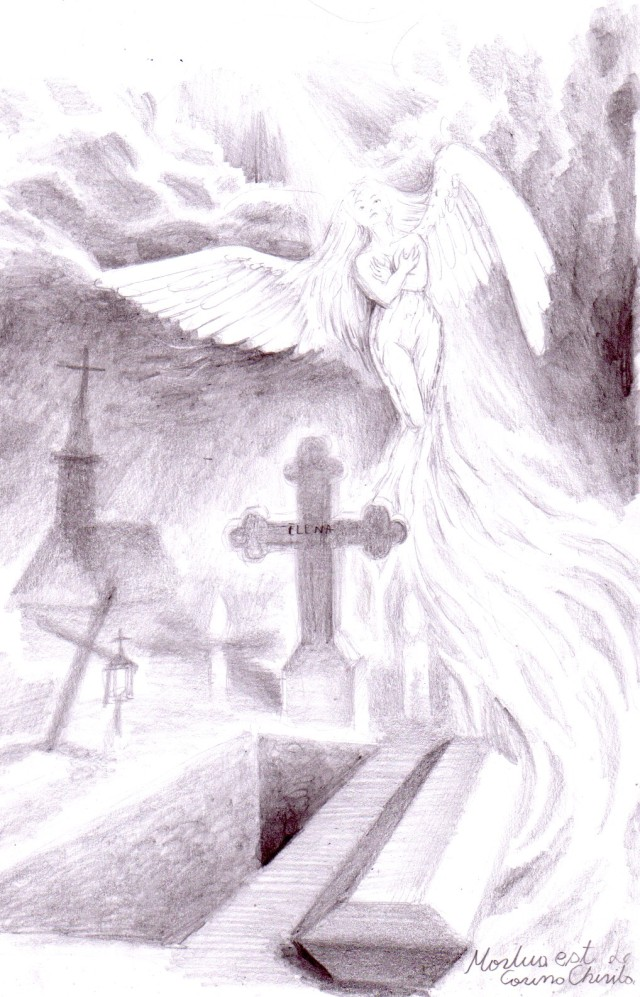 Mortua est, desen in creion inspirat din poezia lui Mihai Eminescu