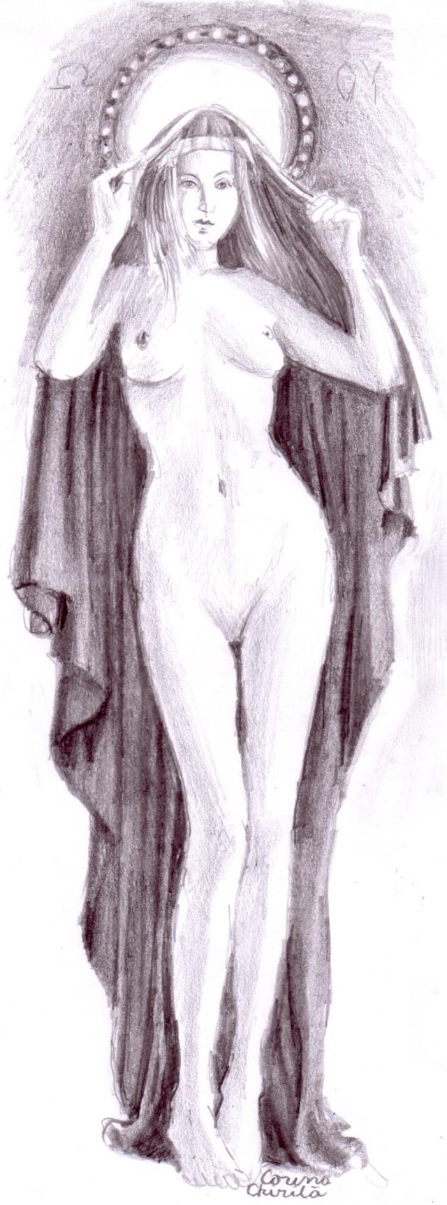Venere si madona sau nudul Maicii Domnului, desen in creion