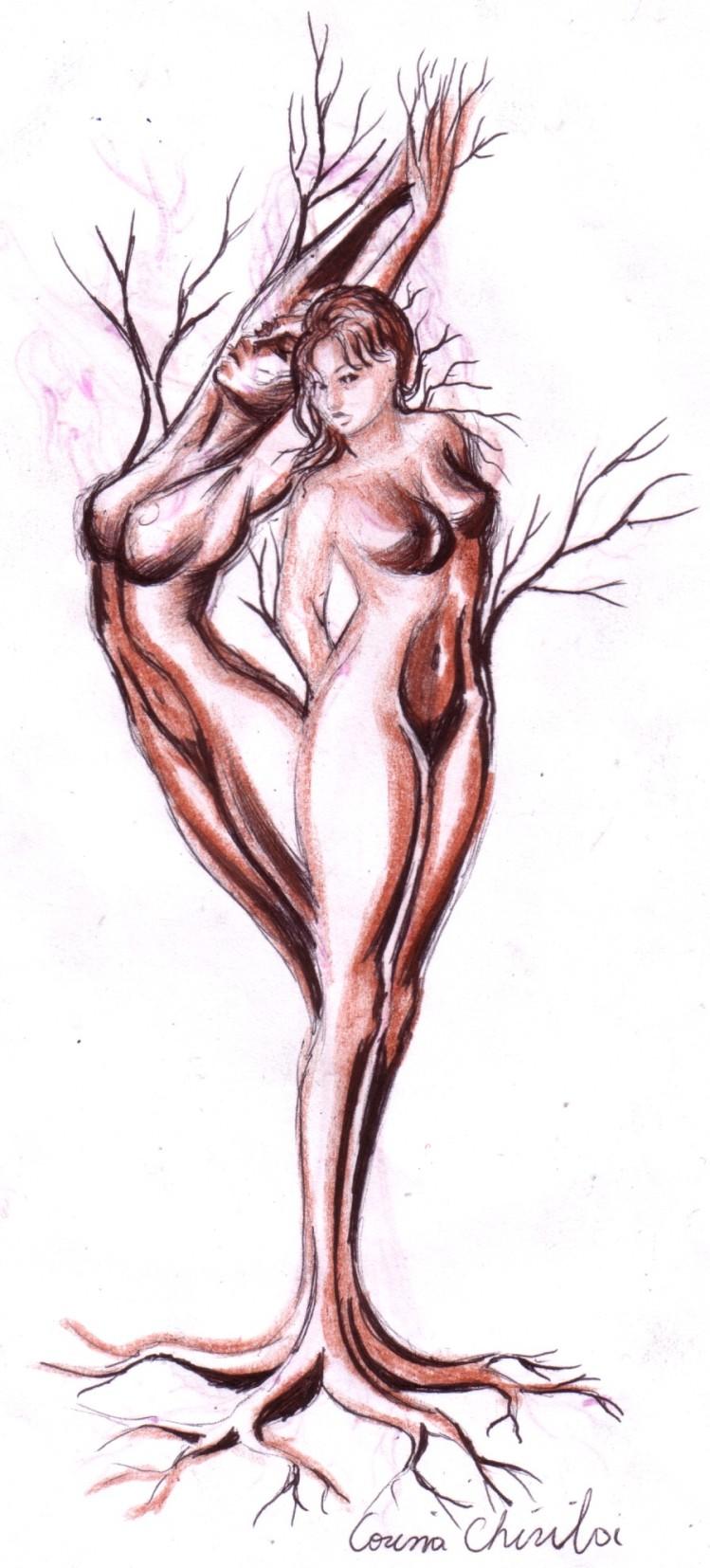Arborele iubirii, desen in pix