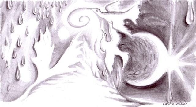Aripi in ploaia de lacrimi,desen in creion