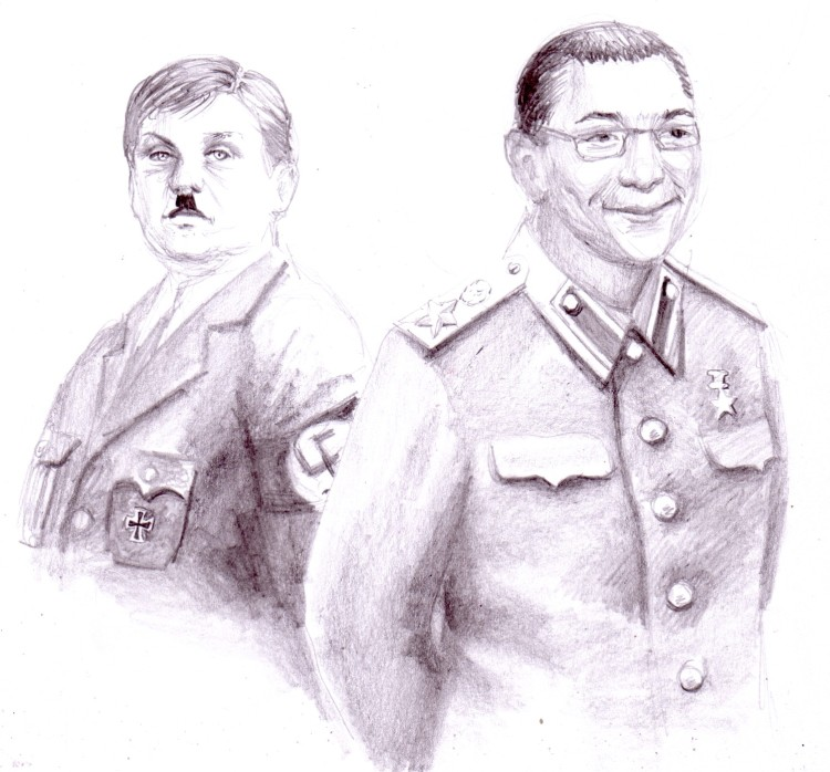 Doi tirani: un Hitler care il tine in brate pe ciobanul misogin, homofob agresiv si necioplit din pipera si un Stalin care duce in adevarat zaboi impotriva artei si a culturii prin inchiderea TVR Cultural si a galeriilor de arta