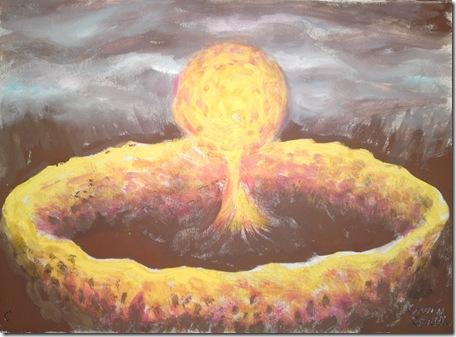 O pictura pe care am facut-o pe 10 februarie dupa ce am visat o minge de foc care a venit din cer si a produs o explozie colosala si un mic cutremur. Dupa cateva zile in orasul Chelyabinsk din Rusia a cazut un meteorit