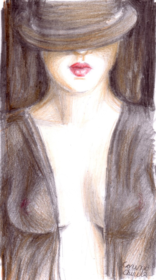 Misterioasa femeie cu palarie, desen in creion