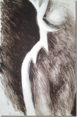 Nud alb-negru pictura - Blach and white nude woman painting