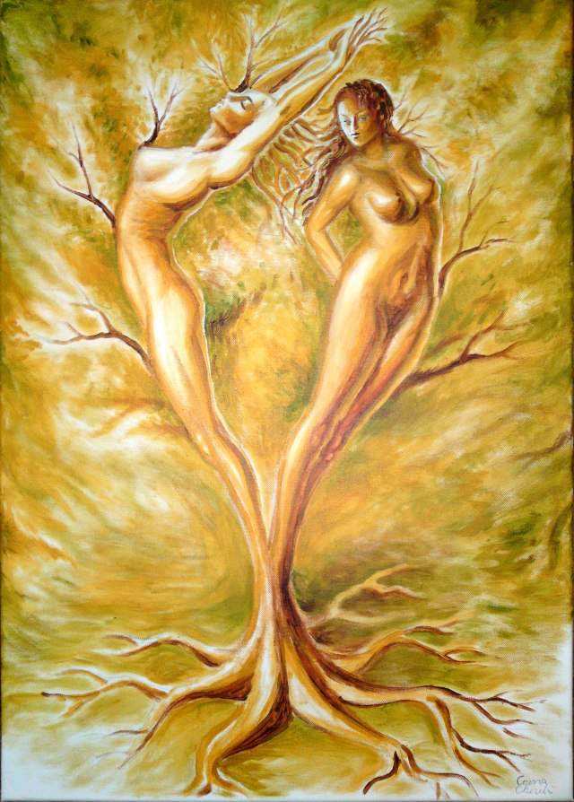 Arborele iubirii, pictura acrilice pe panza