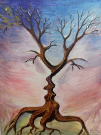 Copacul sarutului, pictura in acrilice pe panza