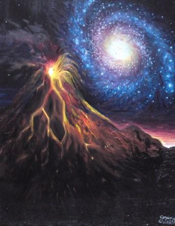 Un vulcan de pe alta planeta, pictura ulei pe panza