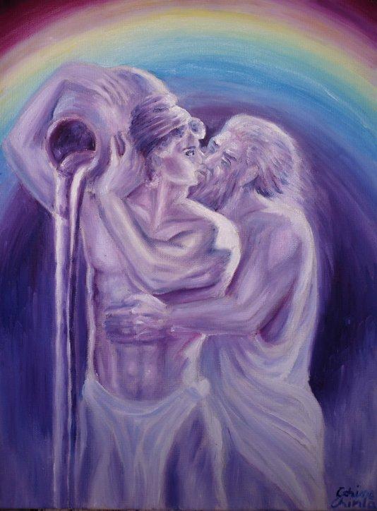 Legenda zodiei varsatorului - Zeus si Ganymede, pictura ulei pe panza