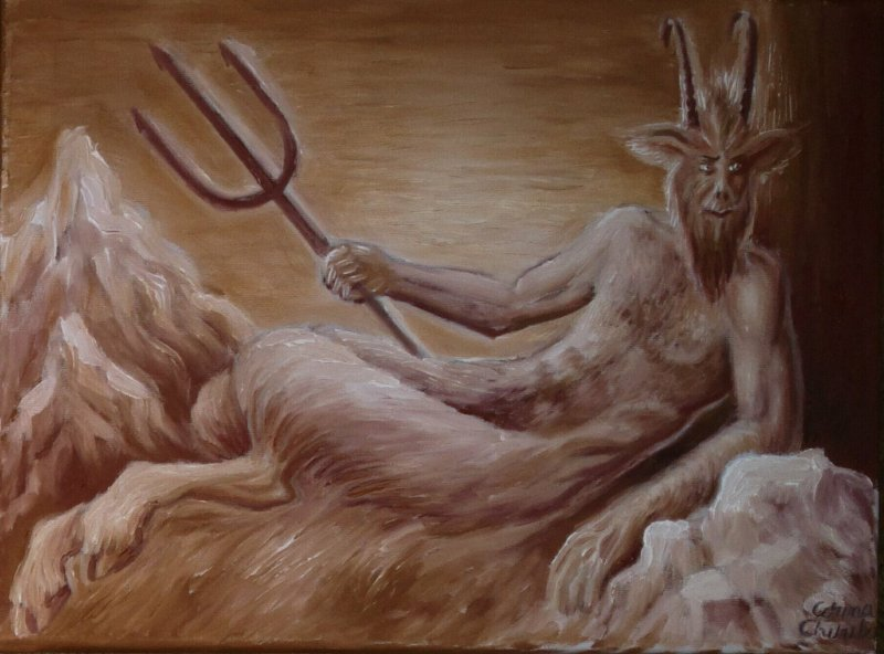 Legenda zodiei capricornului - zeul Pan pictura ulei pe panza