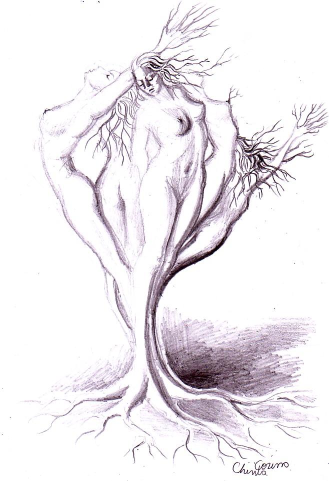 Copac antropomorf desenat in creion