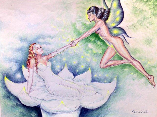 Desen fantezie facut cu pixul - o poveste de primavara cu o printesa si o femeie cu aripi de fluture