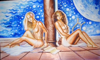Sappho si una dintre fete, pictura acuarela