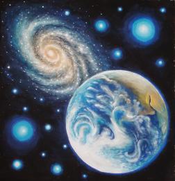 Pamantul si o galaxie, pictura tempera