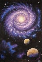 Galaxie, pixtura tempera