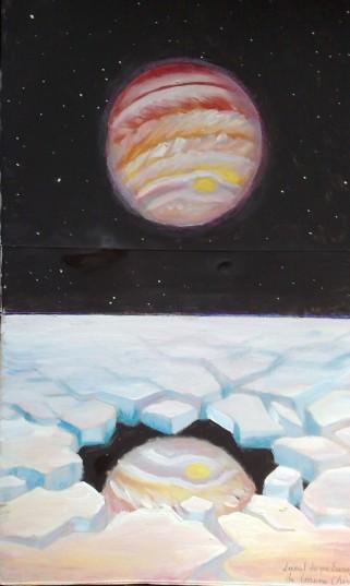 Jupiter reflectandu-se intr-un lac de pe Europa - Europa lake painting