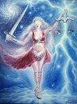 Legenda zodiei balantei - zeita justitiei cu balanta ei, pictura ulei pe panza