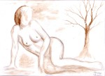 Nud cu copac pictura facuta cu cafea - nude woman with tree coffee painting