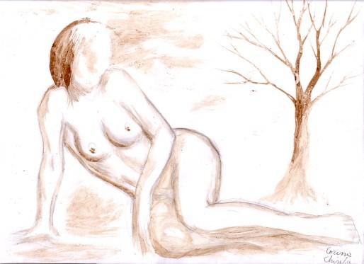 Nud cu copac pictura facuta cu cafea - nude woman with tree coffee painting