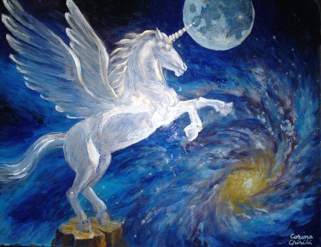 Pegas, sau un cal inaripat pictat cu acrilice pe sticla