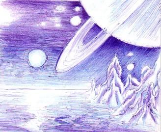 Peisaj de pe Titan desen in pix